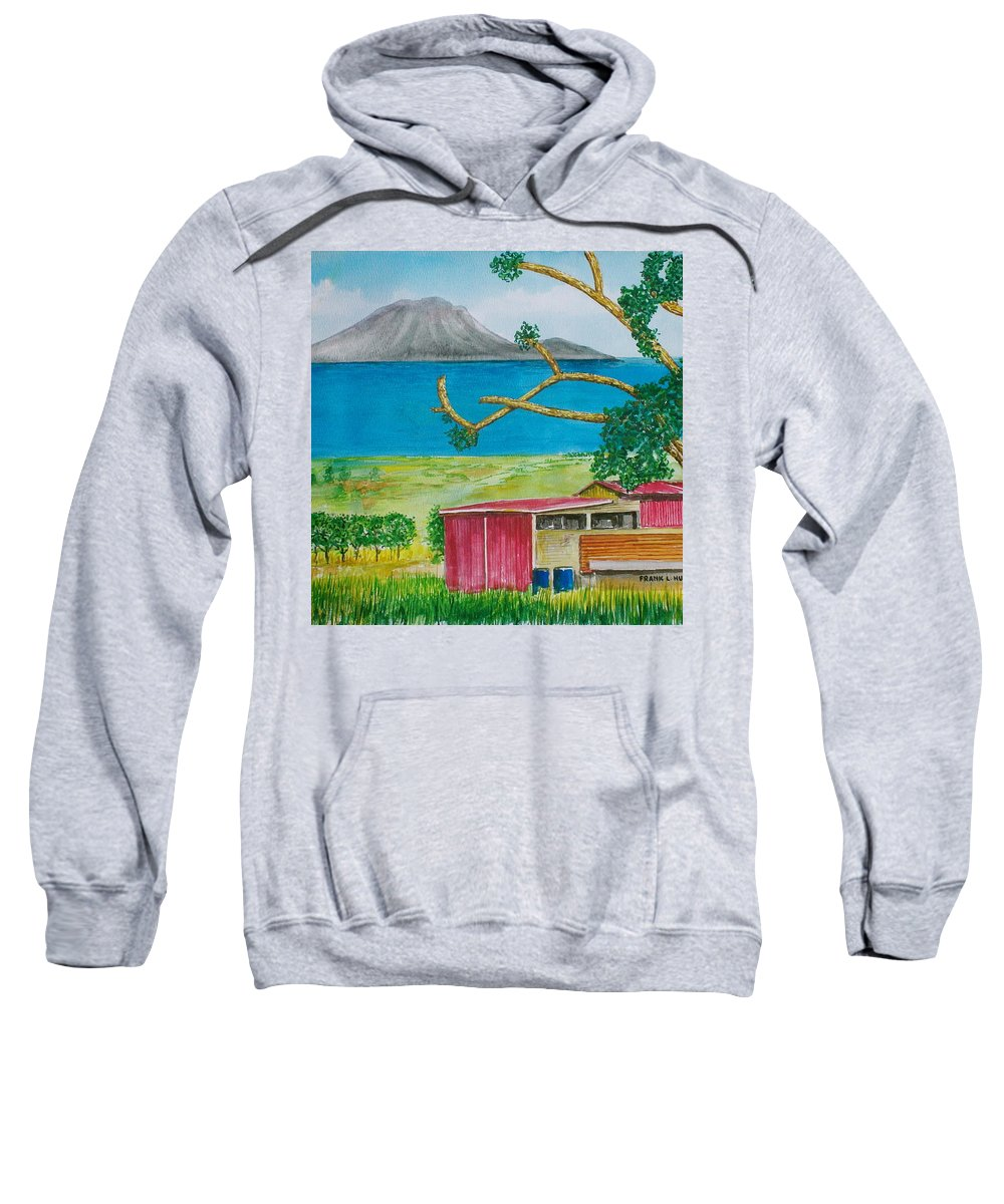 Caribbean St Eustatis St. Kitts Volcano Island Red Shed Slope Weird Trees Sweatshirt featuring the painting St. Eustatis From St. Kitts by Frank Hunter