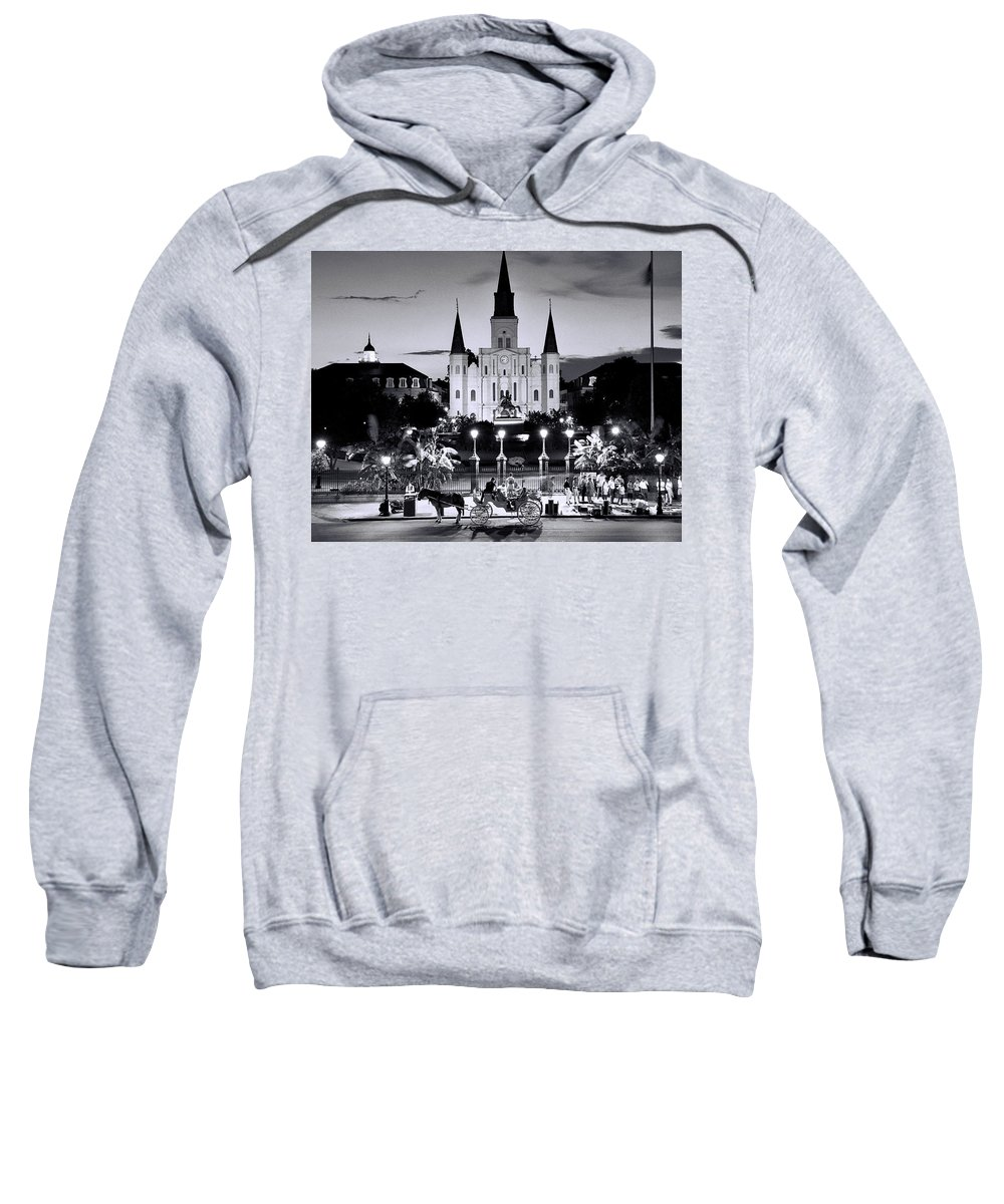 Black And White Photograph Sweatshirt featuring the photograph St. Louis Cathedral New Orleans by Allen Beatty