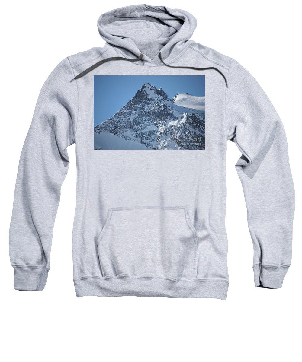 St. Mortiz Sweatshirt featuring the photograph St Mortiz Peaks by Christine Dekkers