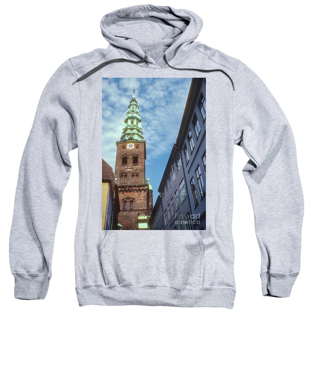 St. Nikolai Church Tower Churches Clock Towers Building Buildings Structure Structures Architecture Place Places Of Worship Copenhagen Denmark Sweatshirt featuring the photograph St. Nikolai Church Tower by Bob Phillips