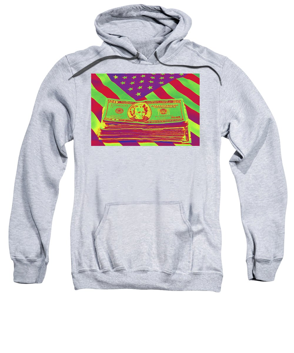 Flag Sweatshirt featuring the photograph Stack Of Money On American Flag Pop Art by Keith Webber Jr