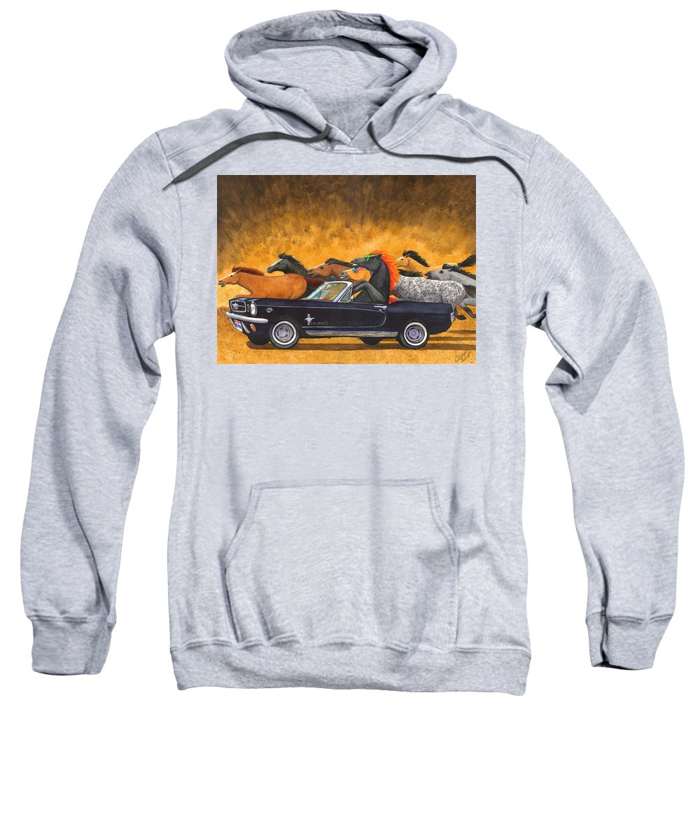 Mustang Sweatshirt featuring the painting Stang by Catherine G McElroy