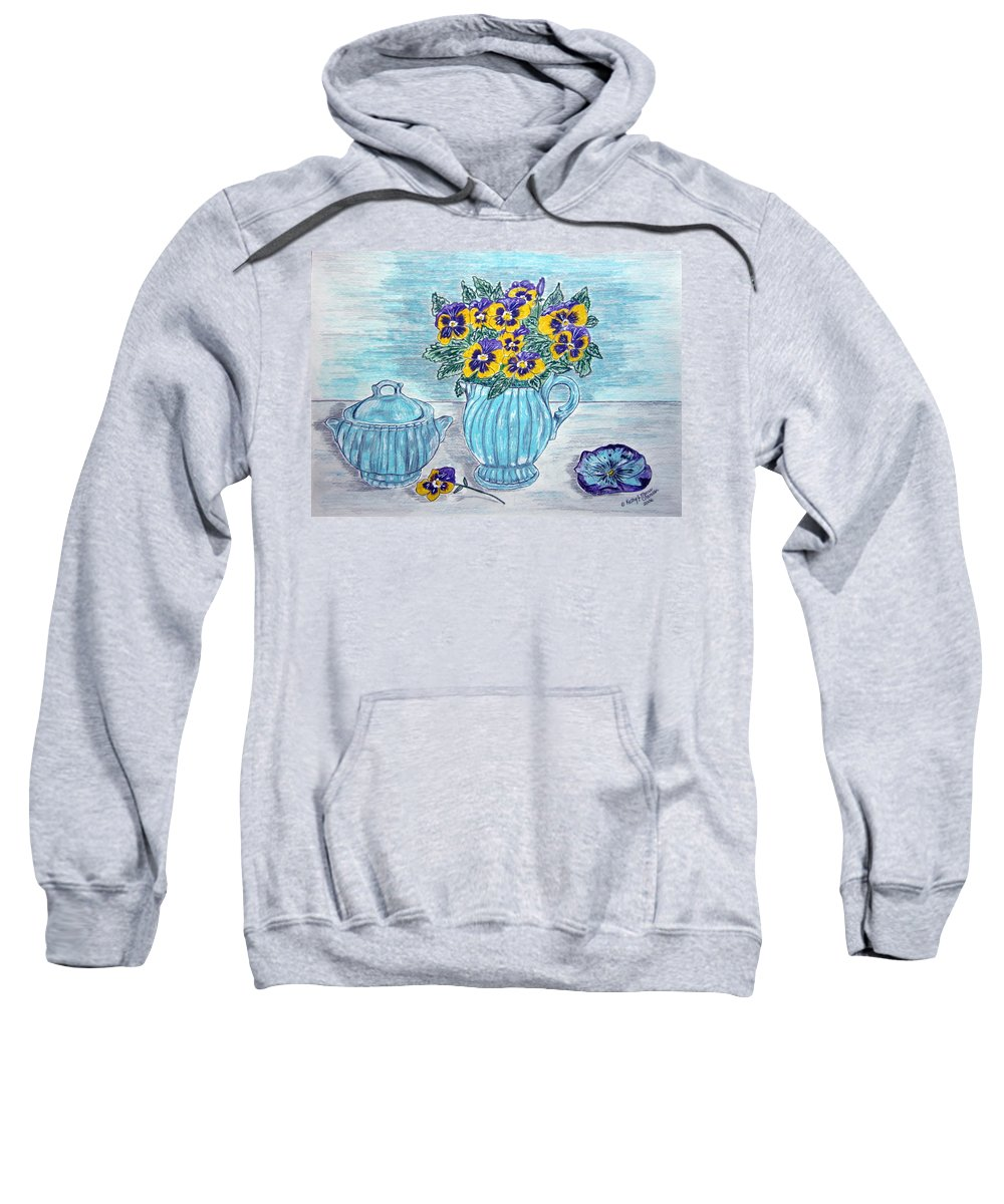 Stangl Pottery Sweatshirt featuring the painting Stangl Pottery And Pansies by Kathy Marrs Chandler