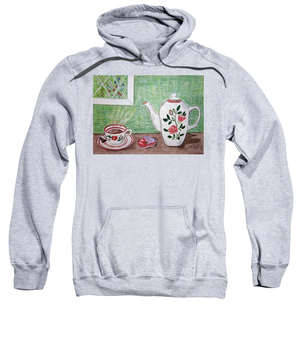 Stangl Pottery Sweatshirt featuring the painting Stangl Pottery Rose Pattern by Kathy Marrs Chandler