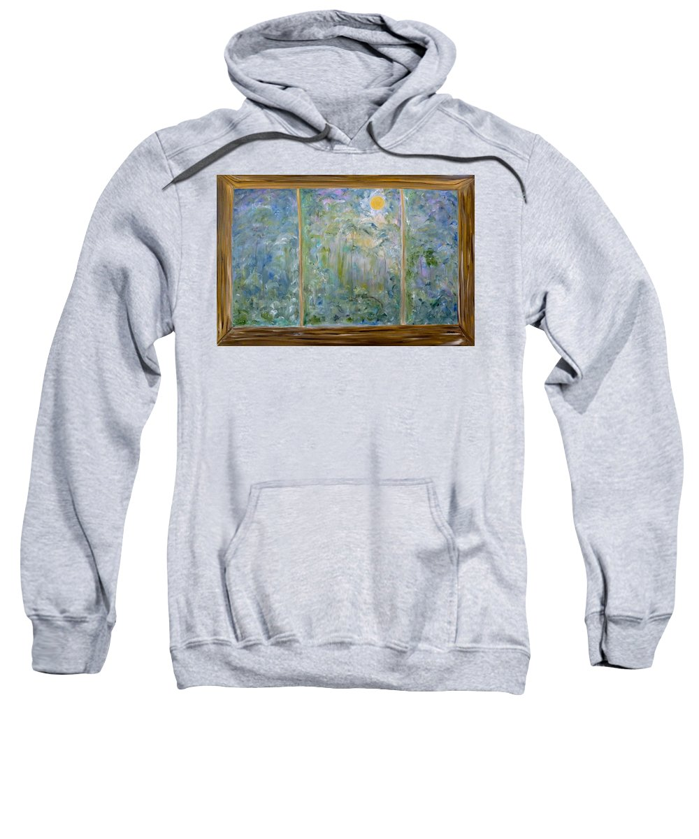 Whimsical Scene Sweatshirt featuring the painting Staring Out The Window by Sara Credito