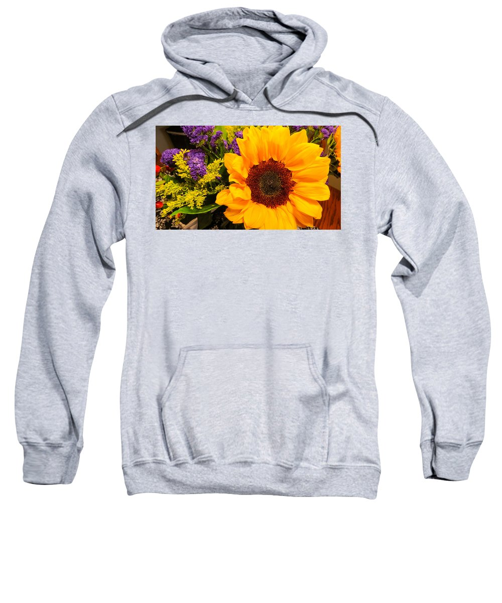 Flower Sweatshirt featuring the photograph Statice And Sunflower by JG Thompson