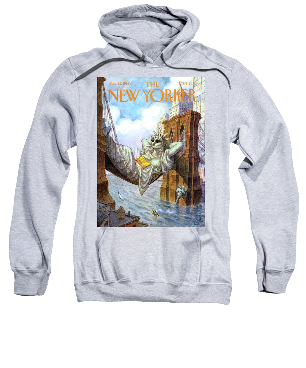 Liberty Sweatshirt featuring the painting Statue Of Liberty Lounges Between The Brooklyn by Peter de Seve