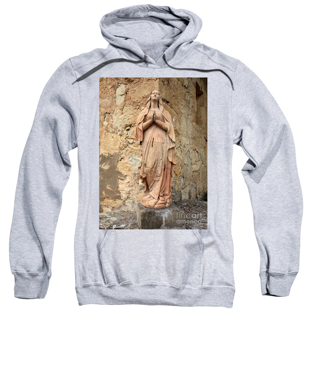 Mother Mary Sweatshirt featuring the photograph Statue Of Mary In Mission Garden by Carol Groenen
