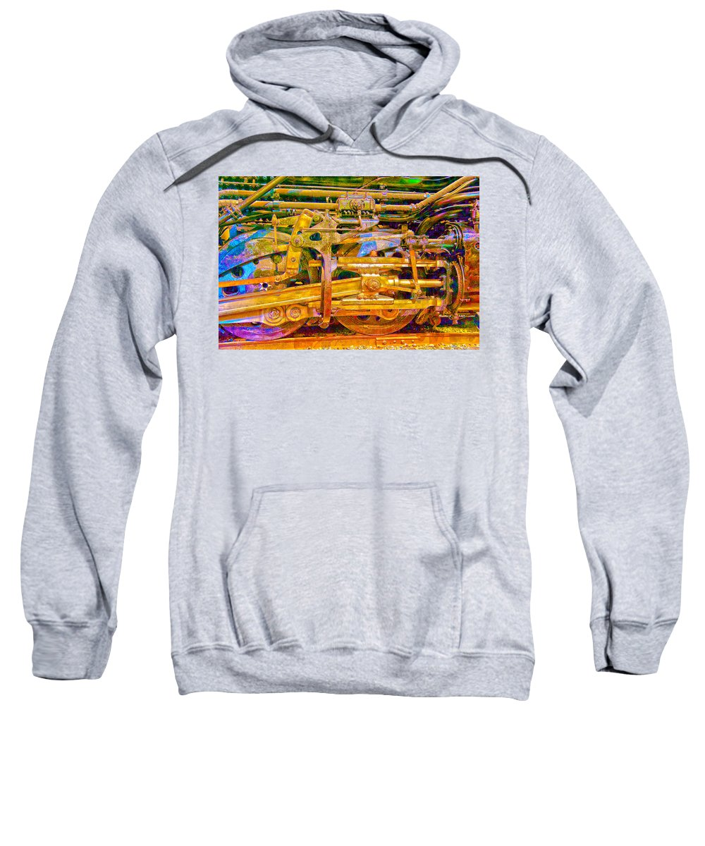 Train Sweatshirt featuring the photograph Steam Engine Linkage 3 by Richard J Cassato