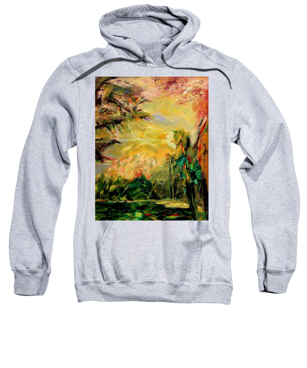 Tropical Paintings Sweatshirt featuring the painting Steamy Cove by Julianne Felton