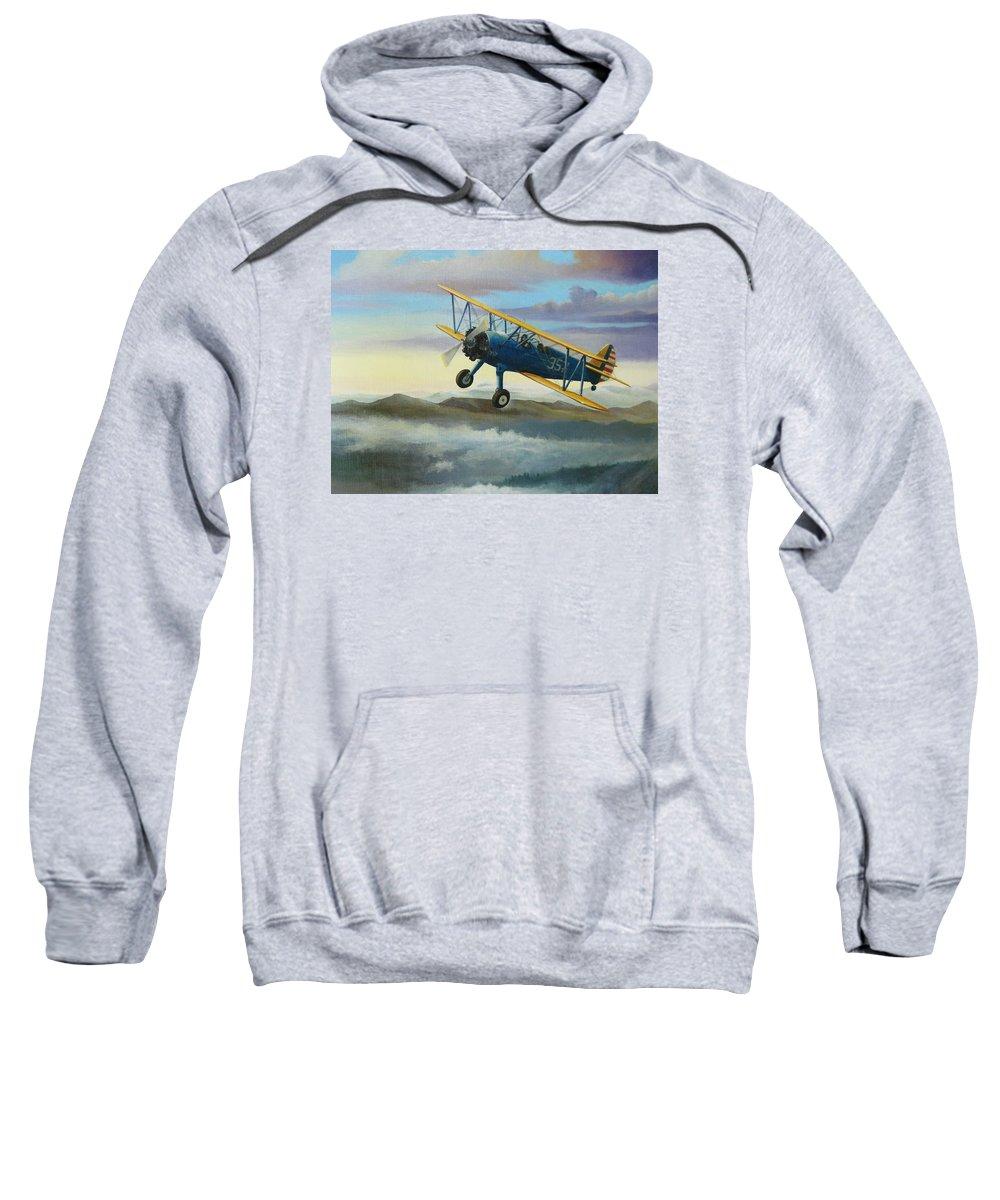 Stearman Sweatshirt featuring the painting Stearman Biplane by Stuart Swartz