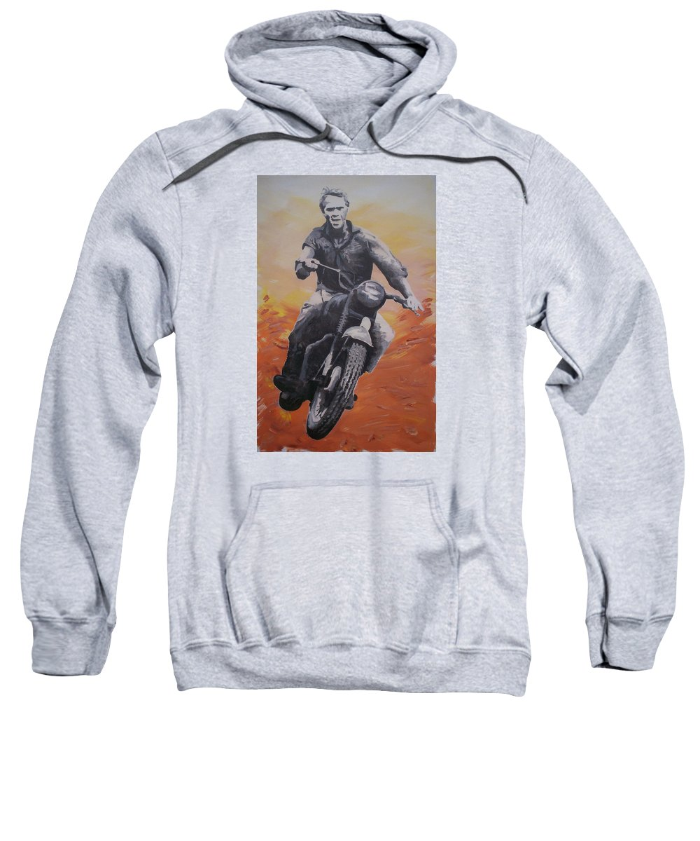 Steve Mcqueen Sweatshirt featuring the painting Steve Mcqueen by Gary Hogben