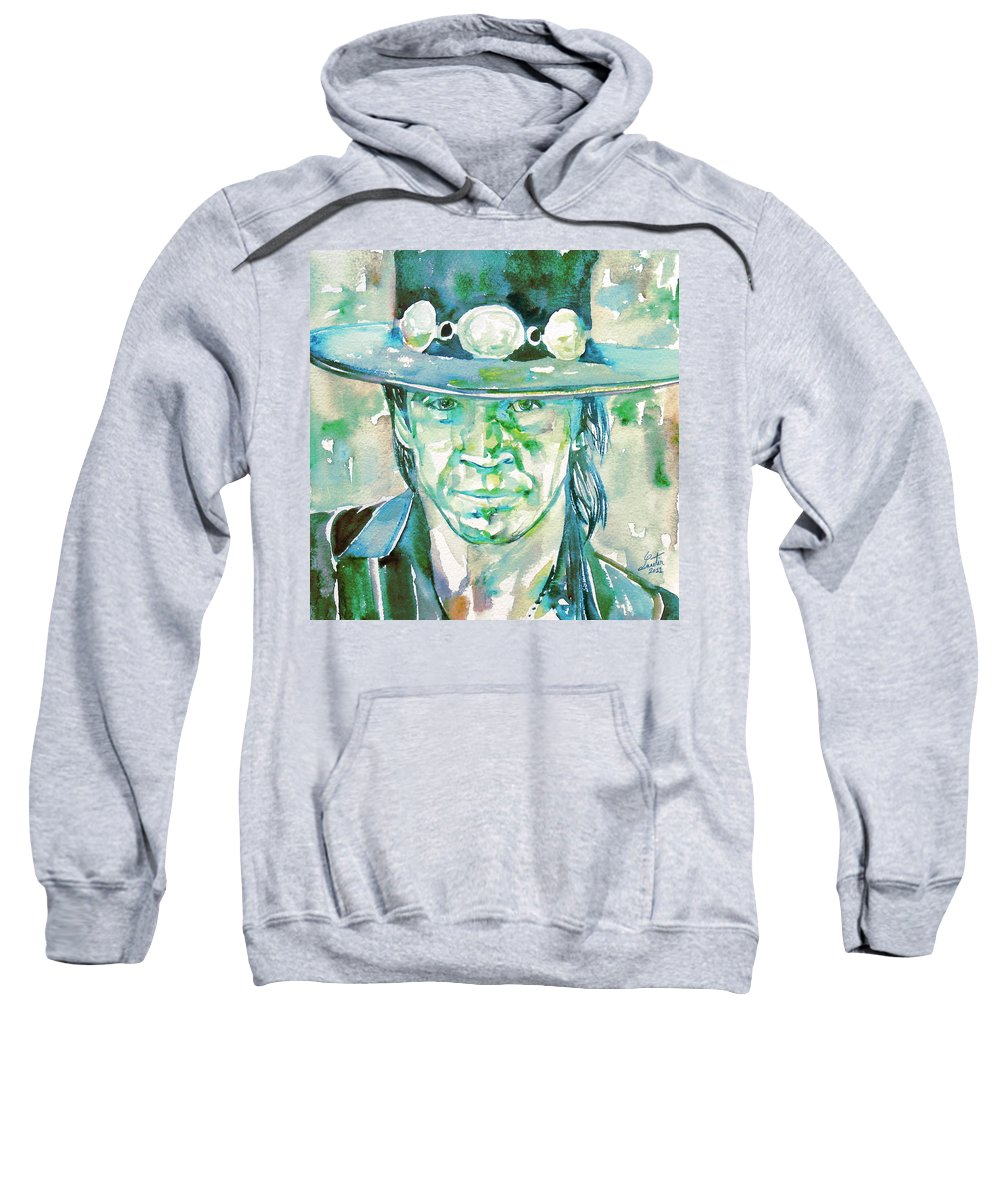 Stevie Ray Vaughan Sweatshirt featuring the painting Stevie Ray Vaughan- Watercolor Portrait by Fabrizio Cassetta