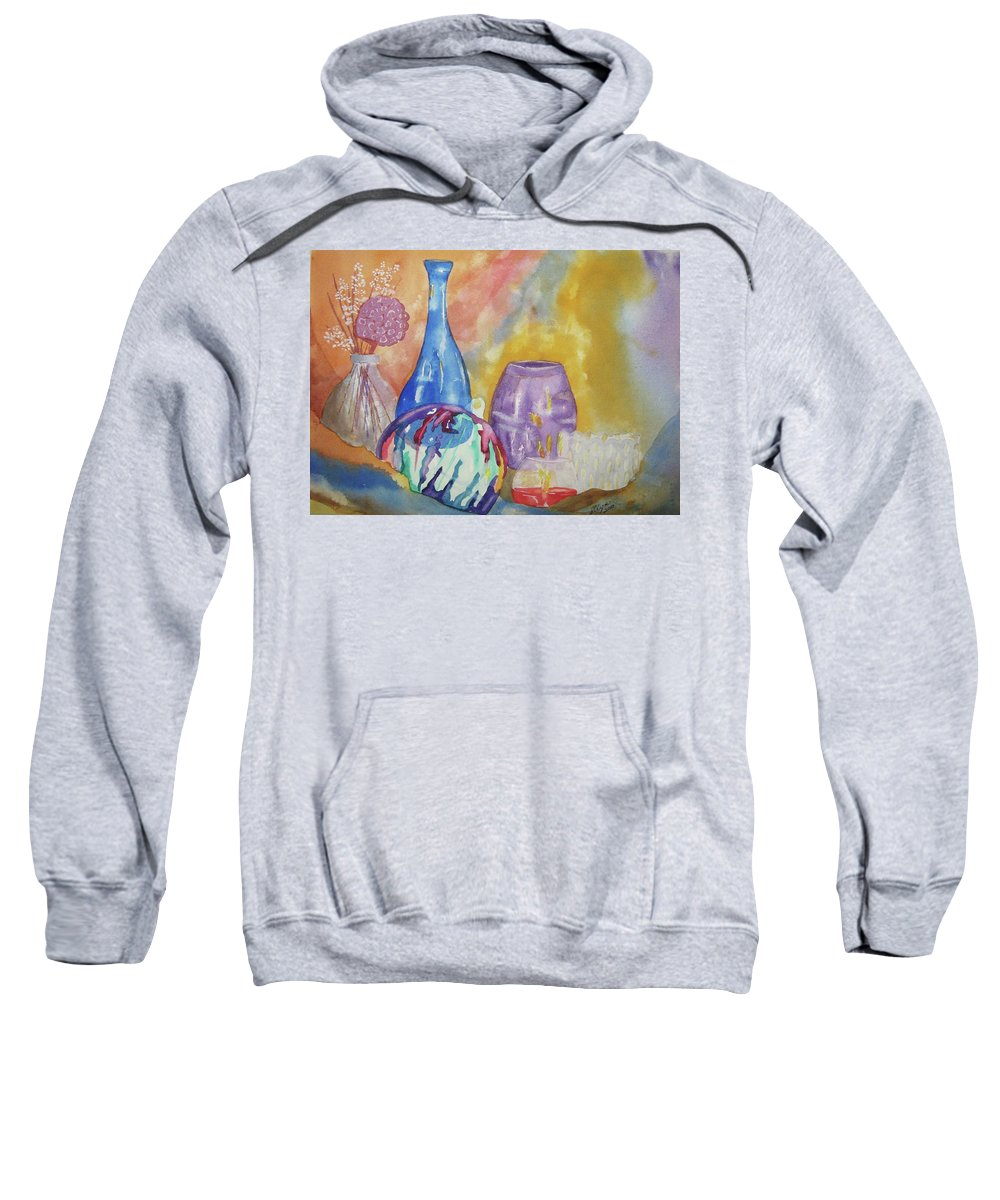 Wine Bottle Sweatshirt featuring the painting Still Life With Witching Ball by Ellen Levinson