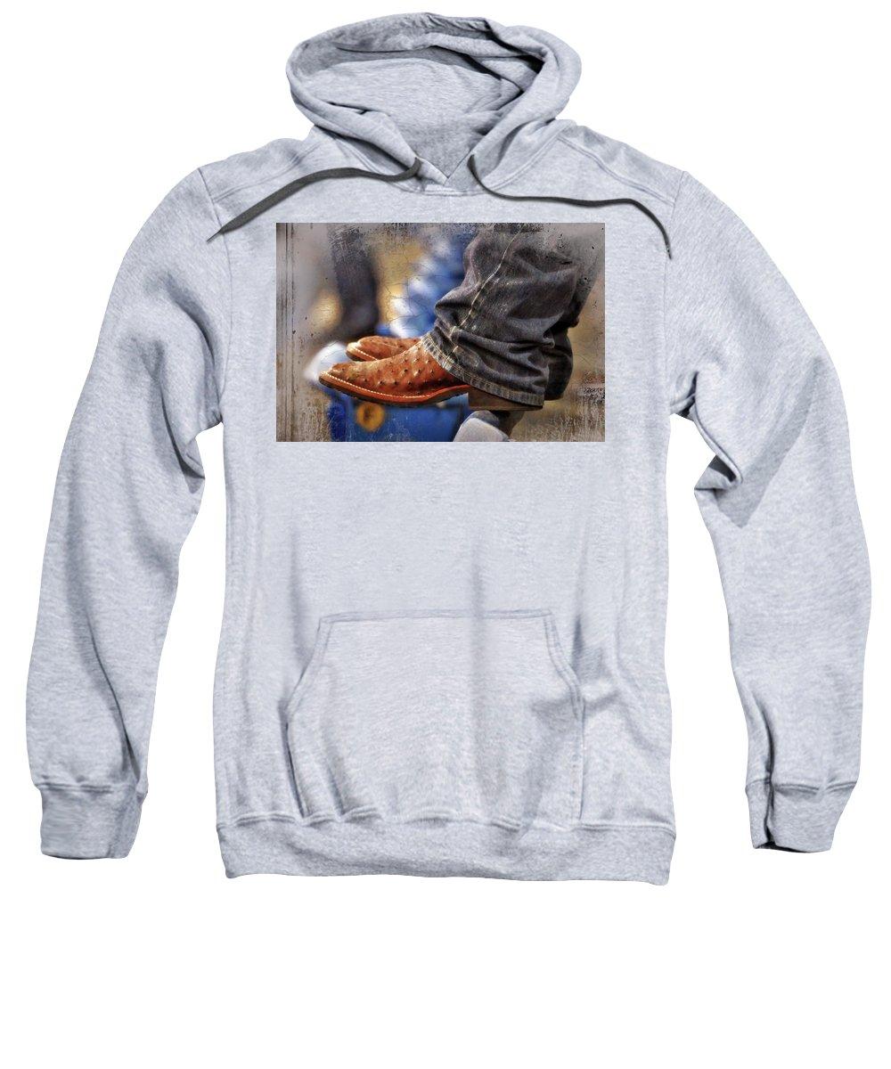 Adult Sweatshirt featuring the photograph Stockshow Boots IIi by Joan Carroll