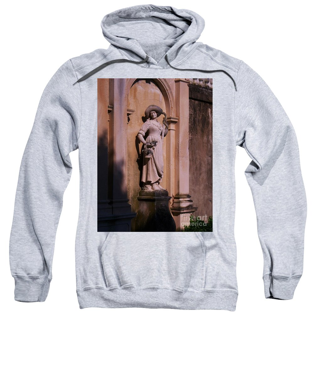 Garden Sweatshirt featuring the photograph Stone Statue Woman by Eric Schiabor