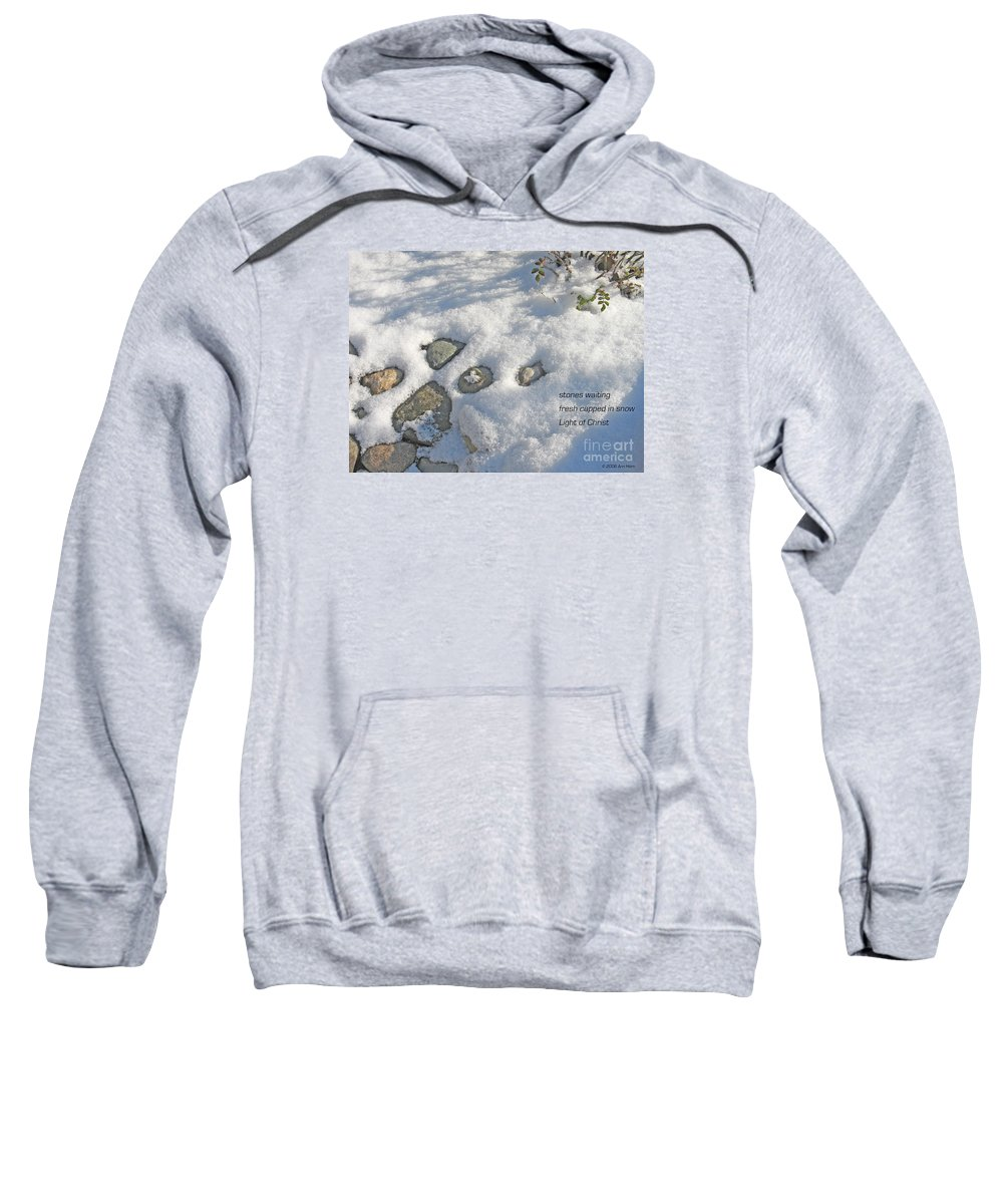 Christmas Sweatshirt featuring the photograph Stones Waiting by Ann Horn