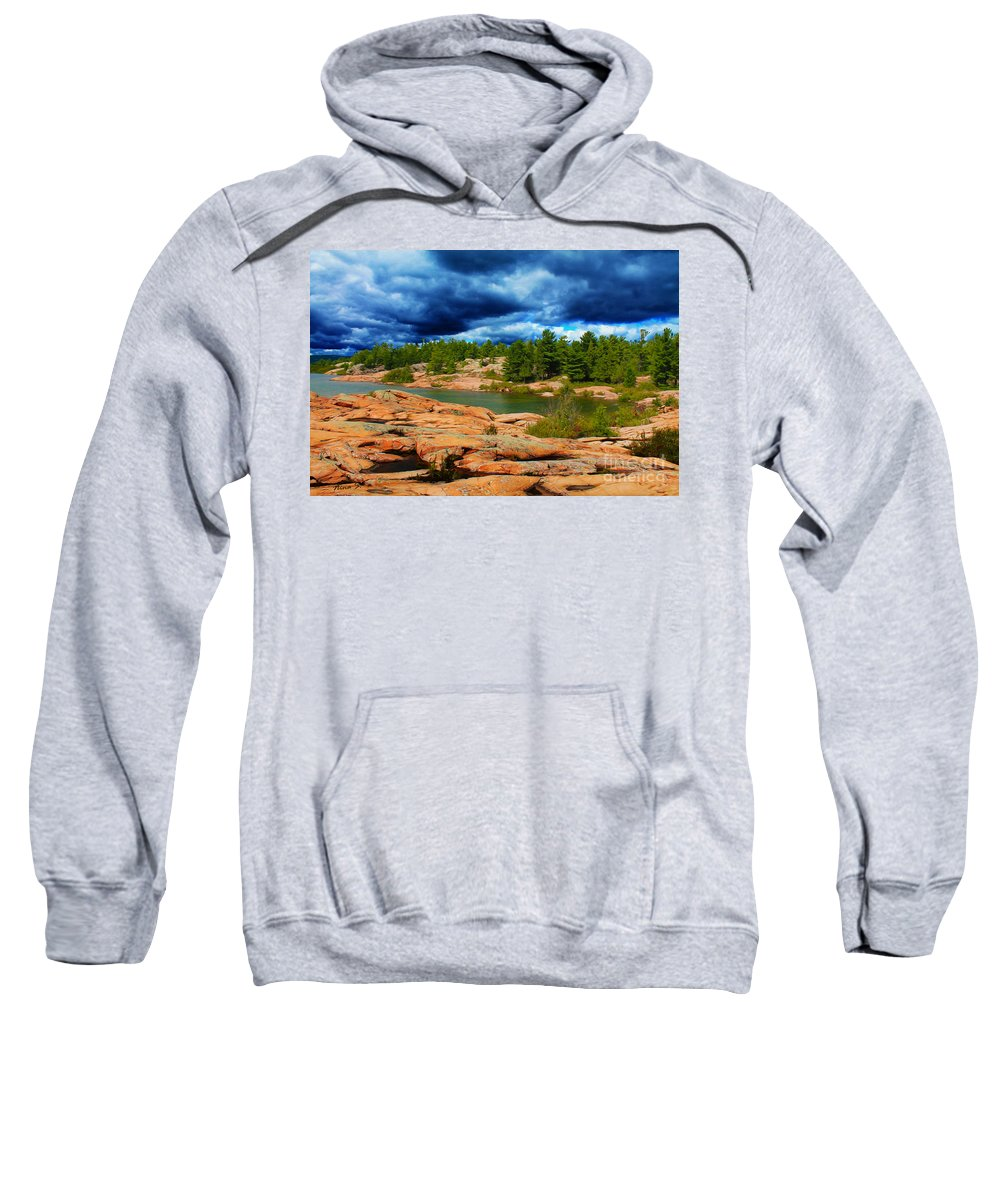 Canada Sweatshirt featuring the photograph Storm Clouds Approaching Chikanashing by Nina Silver