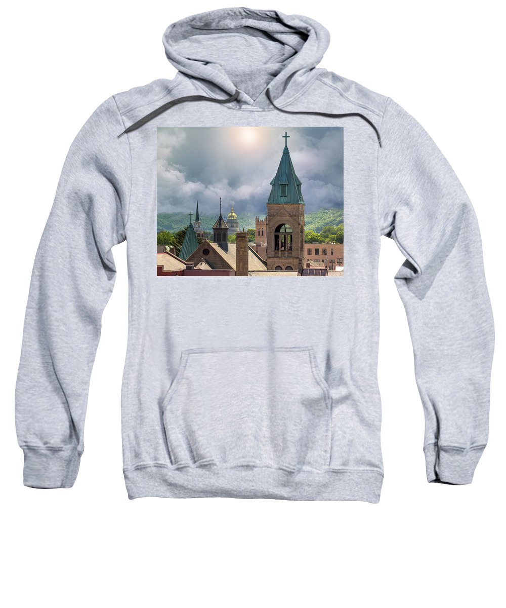Storm Clouds Sweatshirt featuring the photograph Storm Clouds In Charleston Wv by Mary Almond