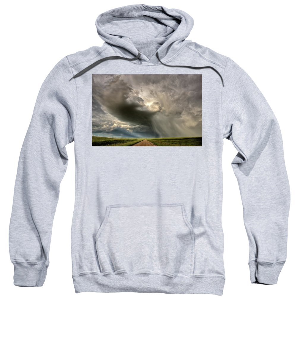 Nature Sweatshirt featuring the digital art Storm Clouds Prairie Sky Saskatchewan by Mark Duffy