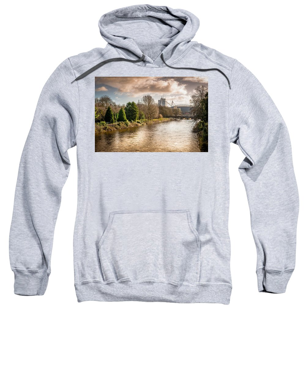 Bute Park Sweatshirt featuring the photograph Storm Over The Taf by Mark Llewellyn