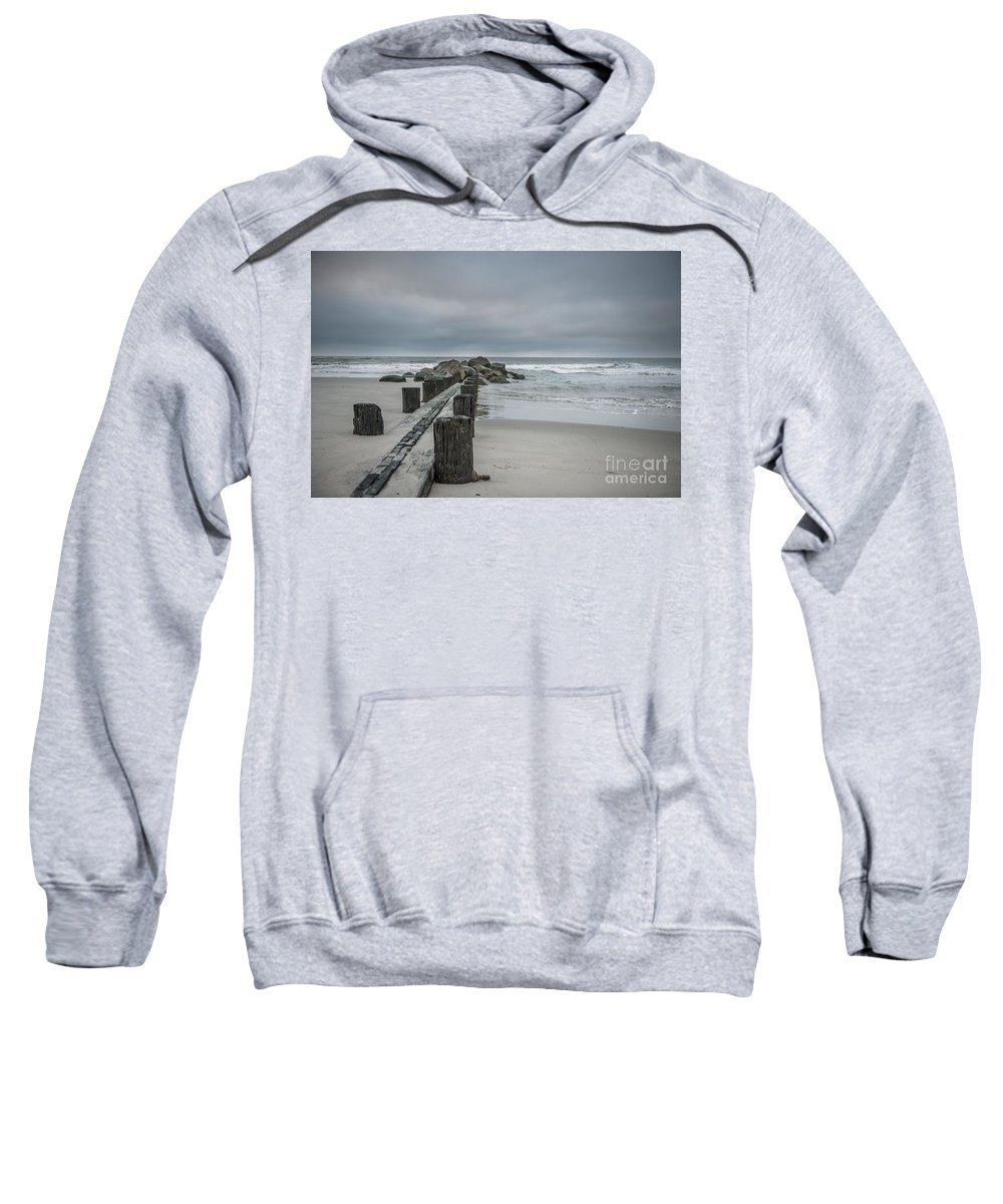 Folly Beach Sweatshirt featuring the photograph Stormy Beach Forcast by Dale Powell