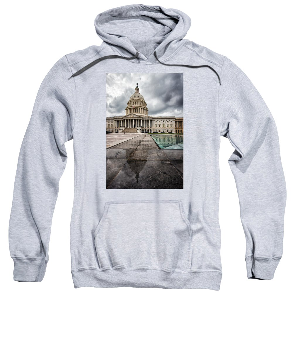 United States Sweatshirt featuring the photograph Stormy Capitol Day I by Tami Stieger