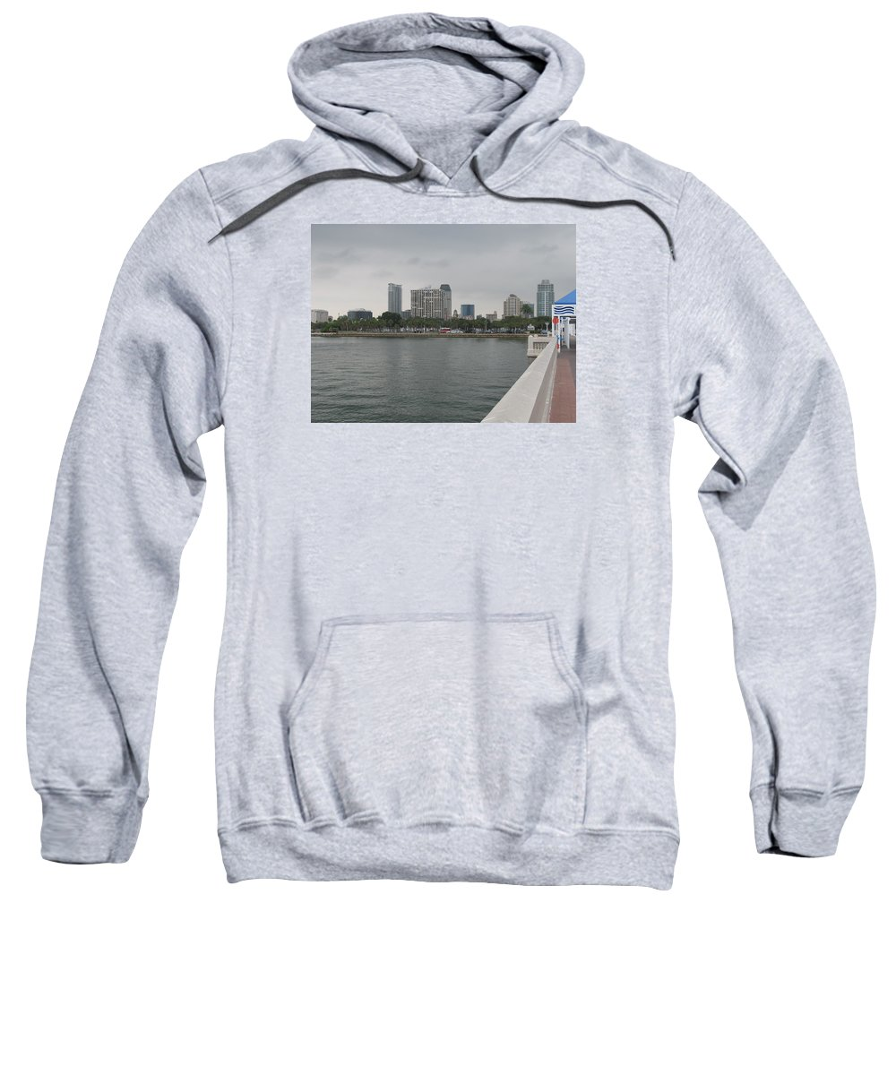 St.peterburg Sweatshirt featuring the photograph St.petersburg Bayfront From Pier by Christiane Schulze Art And Photography