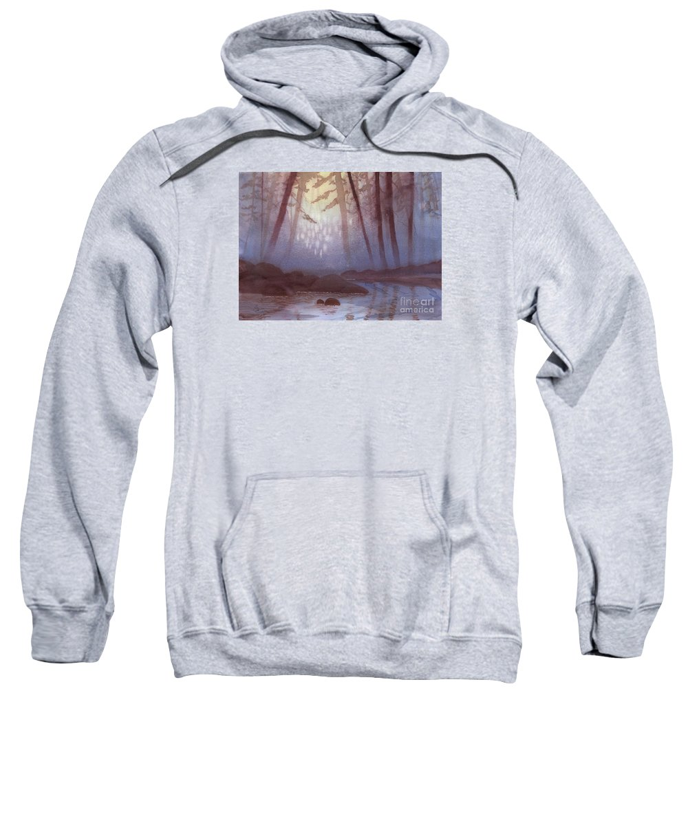Landscape Sweatshirt featuring the painting Stream In Mist by Lynn Quinn