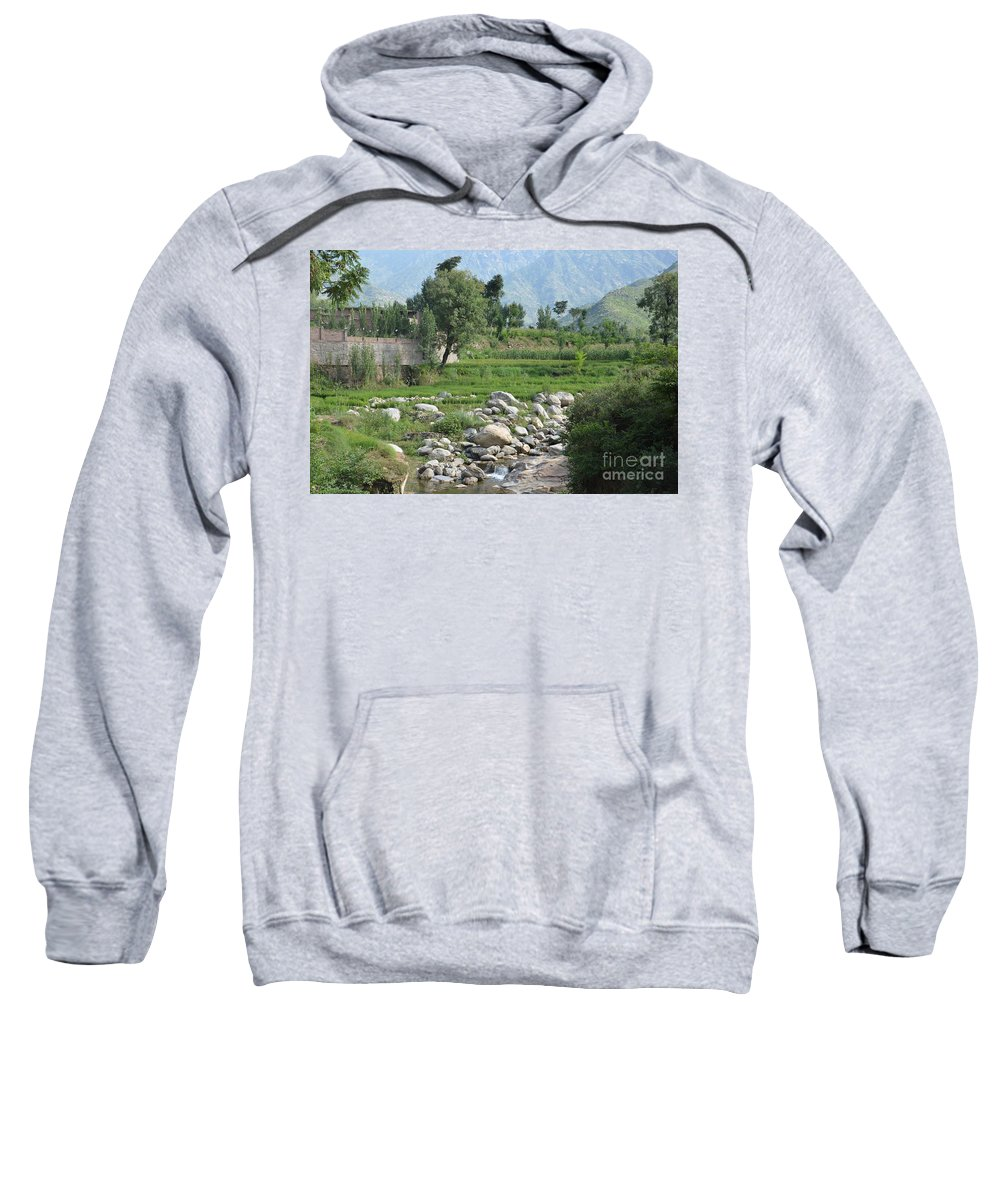 Mountains Sweatshirt featuring the photograph Stream Trees House And Mountains Swat Valley Pakistan by Imran Ahmed