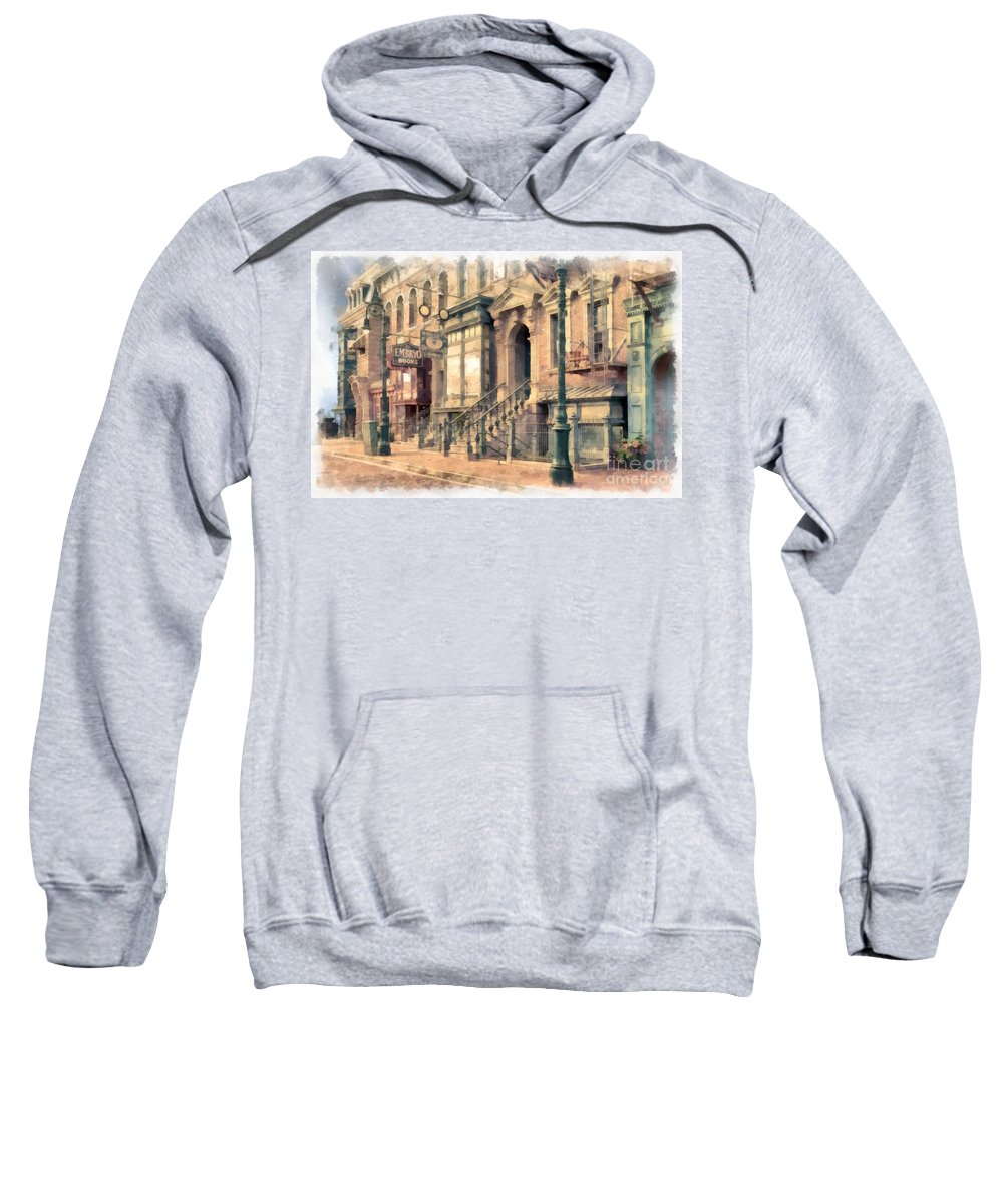 Vintage Sweatshirt featuring the photograph Streets Of Old New York City Watercolor by Edward Fielding