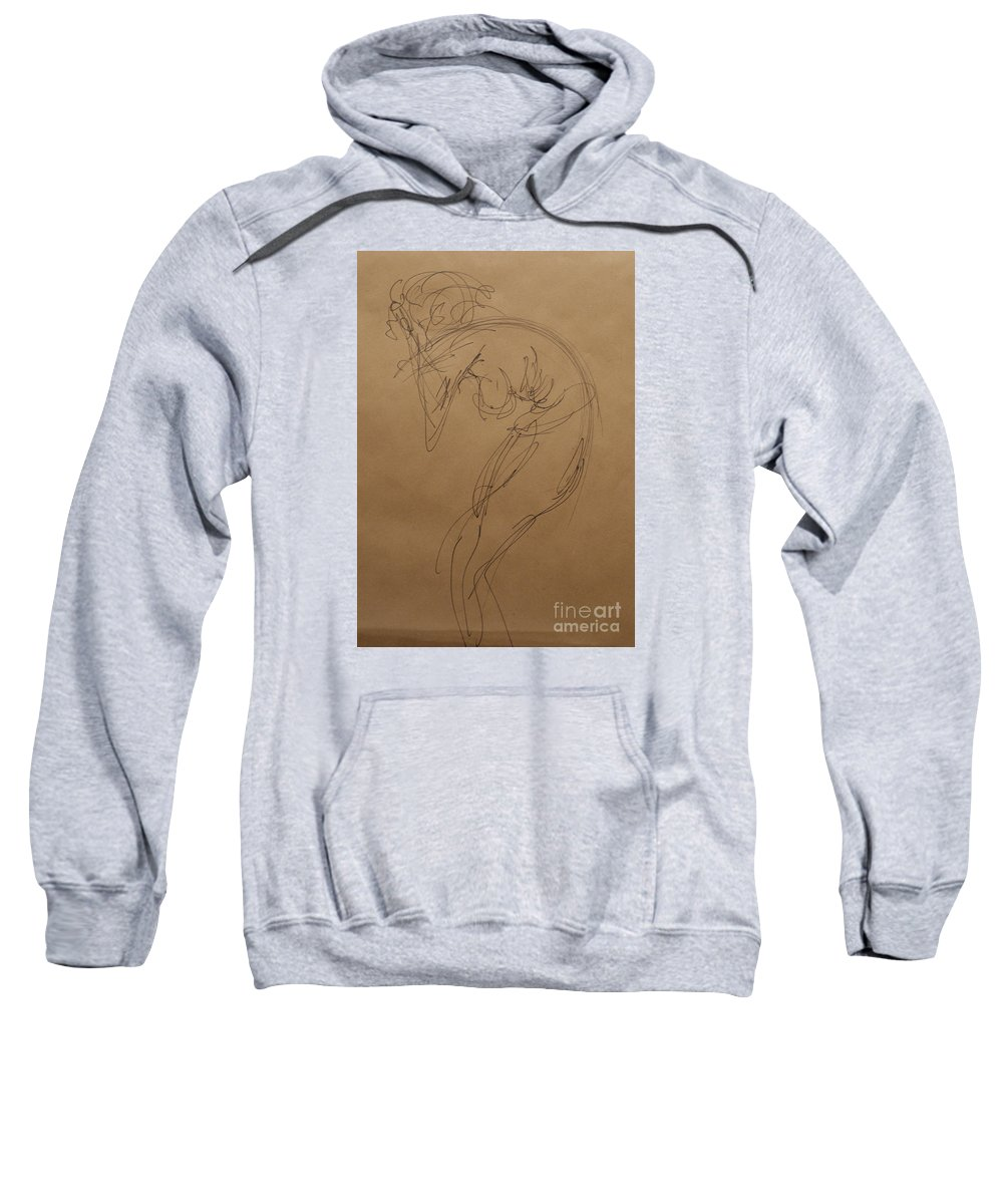 Nude Expressive Drawing In Ink Sweatshirt featuring the painting Stress by Heather Hennick