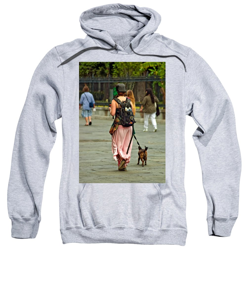 French Quarter Sweatshirt featuring the photograph Strolling In Jackson Square by Steve Harrington