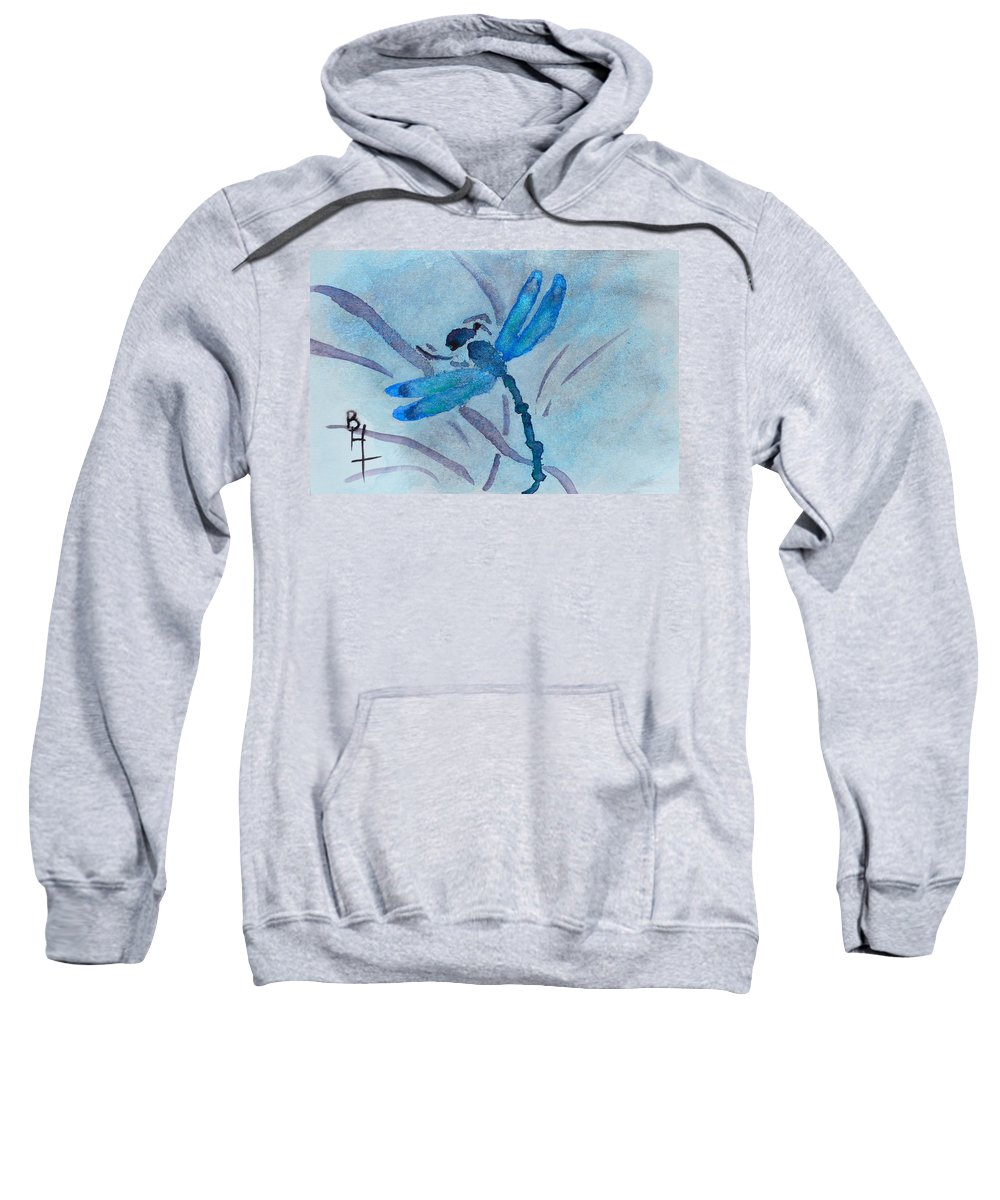 Dragonfly Sweatshirt featuring the painting Sumi Dragonfly by Beverley Harper Tinsley