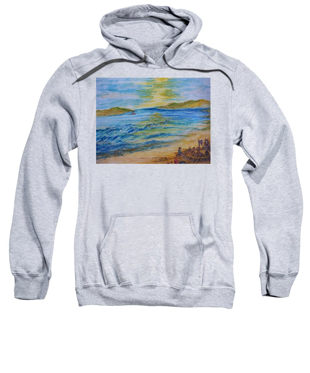 Seascape Sweatshirt featuring the painting Summer/ North Wales by Teresa White