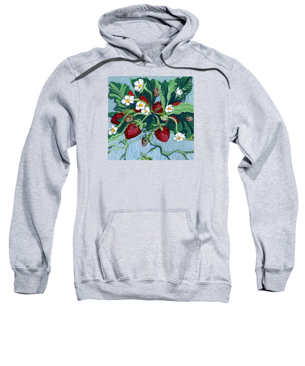 Summer Sweatshirt featuring the painting Summer Strawberries by Mary Palmer