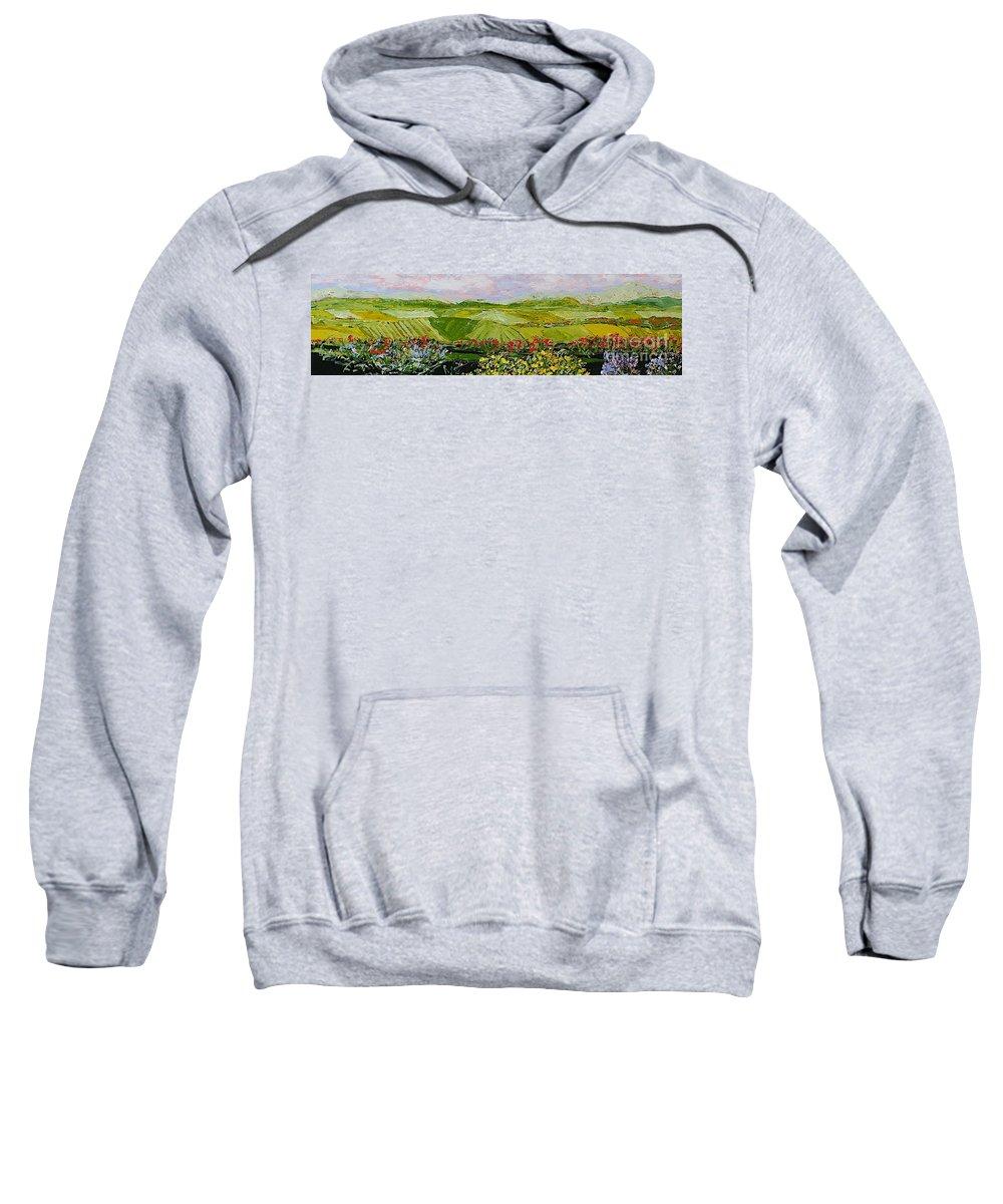 Landscape Sweatshirt featuring the painting Summer Valley by Allan P Friedlander