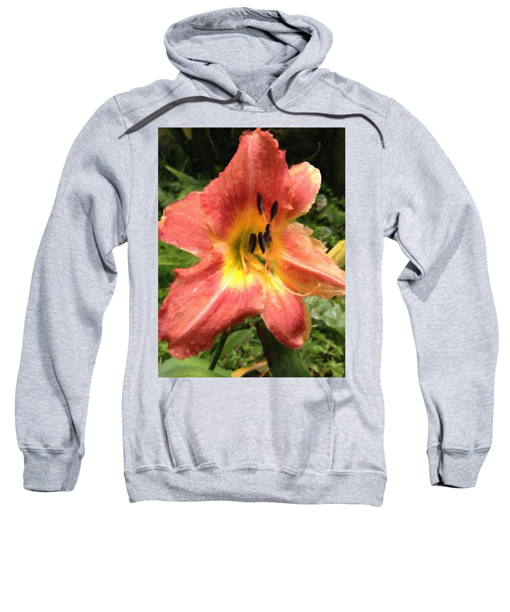 Daylilly Sweatshirt featuring the photograph Sun Day Lilly by John Duplantis