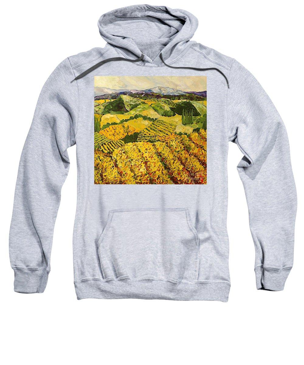 Landscape Sweatshirt featuring the painting Sun Harvest by Allan P Friedlander