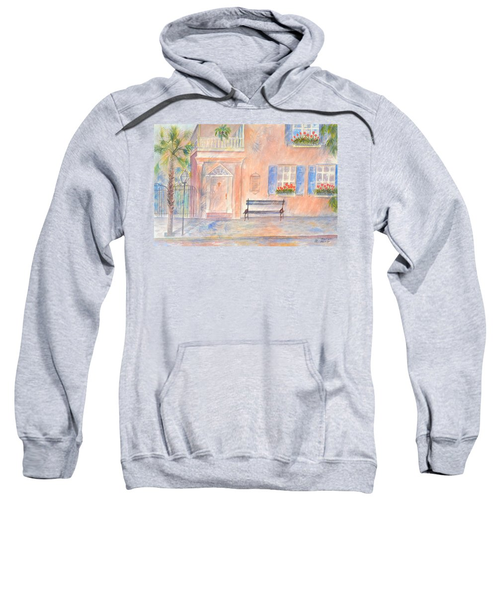 Charleston; Low Country; Palmetto Tree Sweatshirt featuring the painting Sunday Morning In Charleston by Ben Kiger