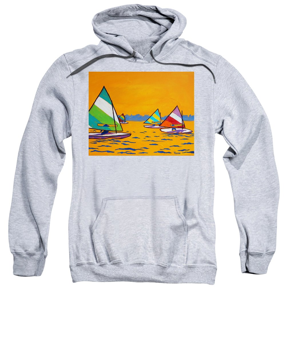 Sailing Sweatshirt featuring the painting Sunfish Sailboat Race by Tommy Midyette
