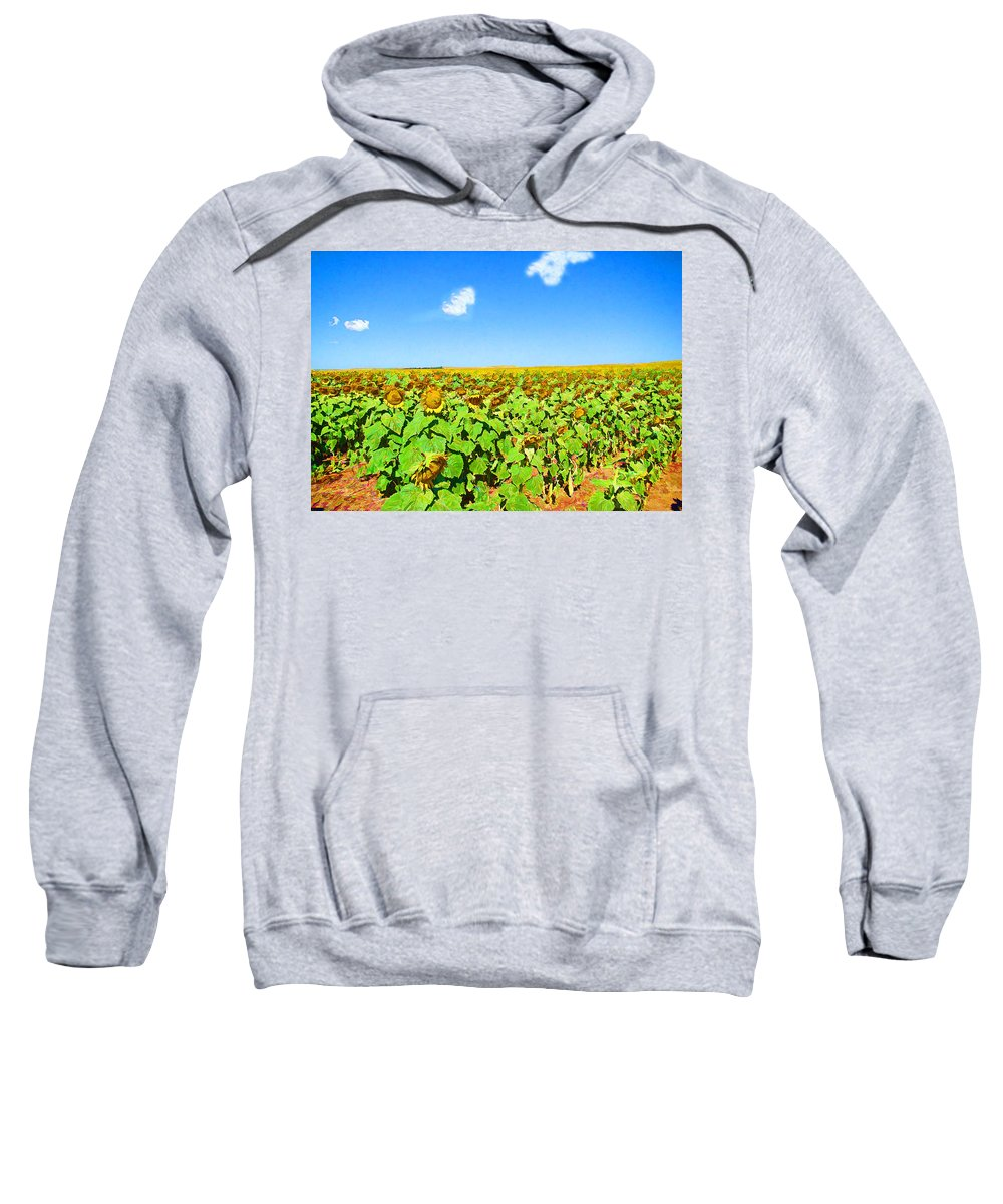 Sunflowers Sweatshirt featuring the photograph Sunflower Fields Forever by Cathy Anderson
