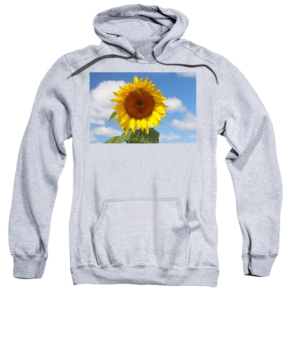 Yellow Sweatshirt featuring the photograph Sunflower Nirvana 30 by Allen Beatty