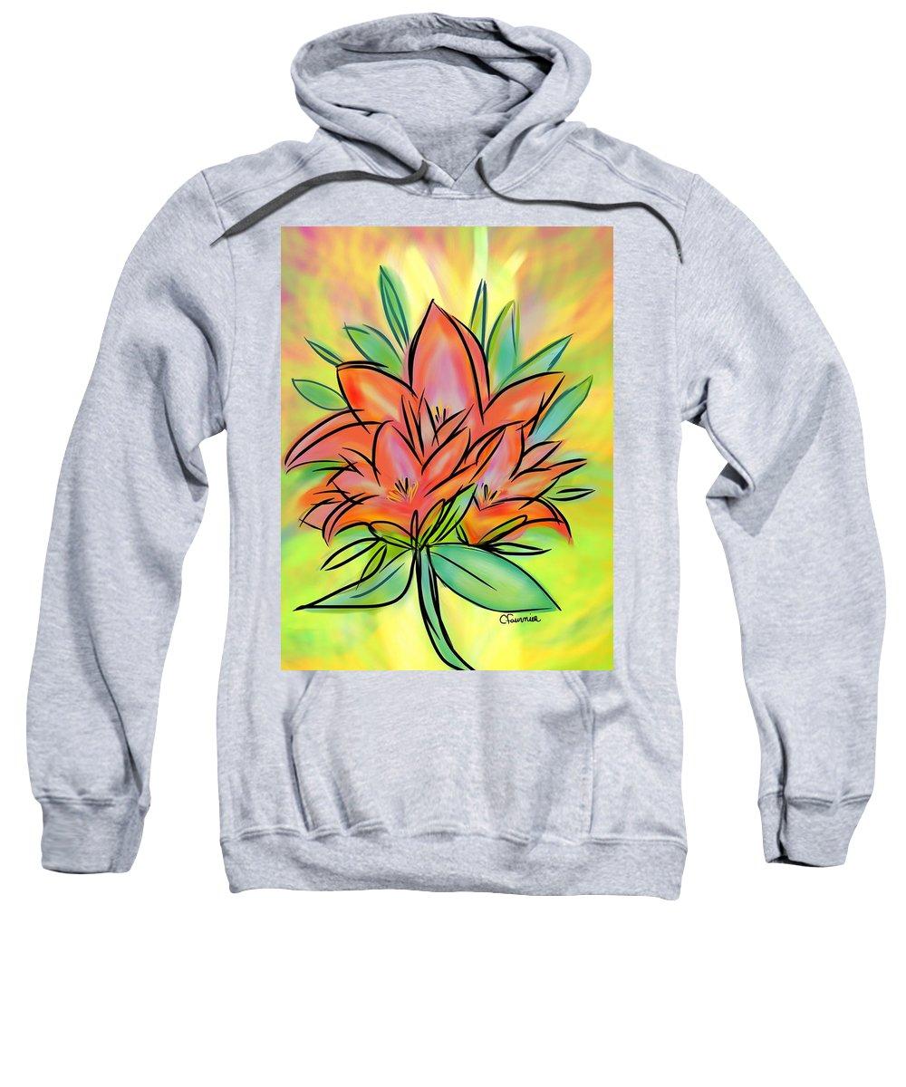 Lily Sweatshirt featuring the digital art Sunrise Lily by Christine Fournier