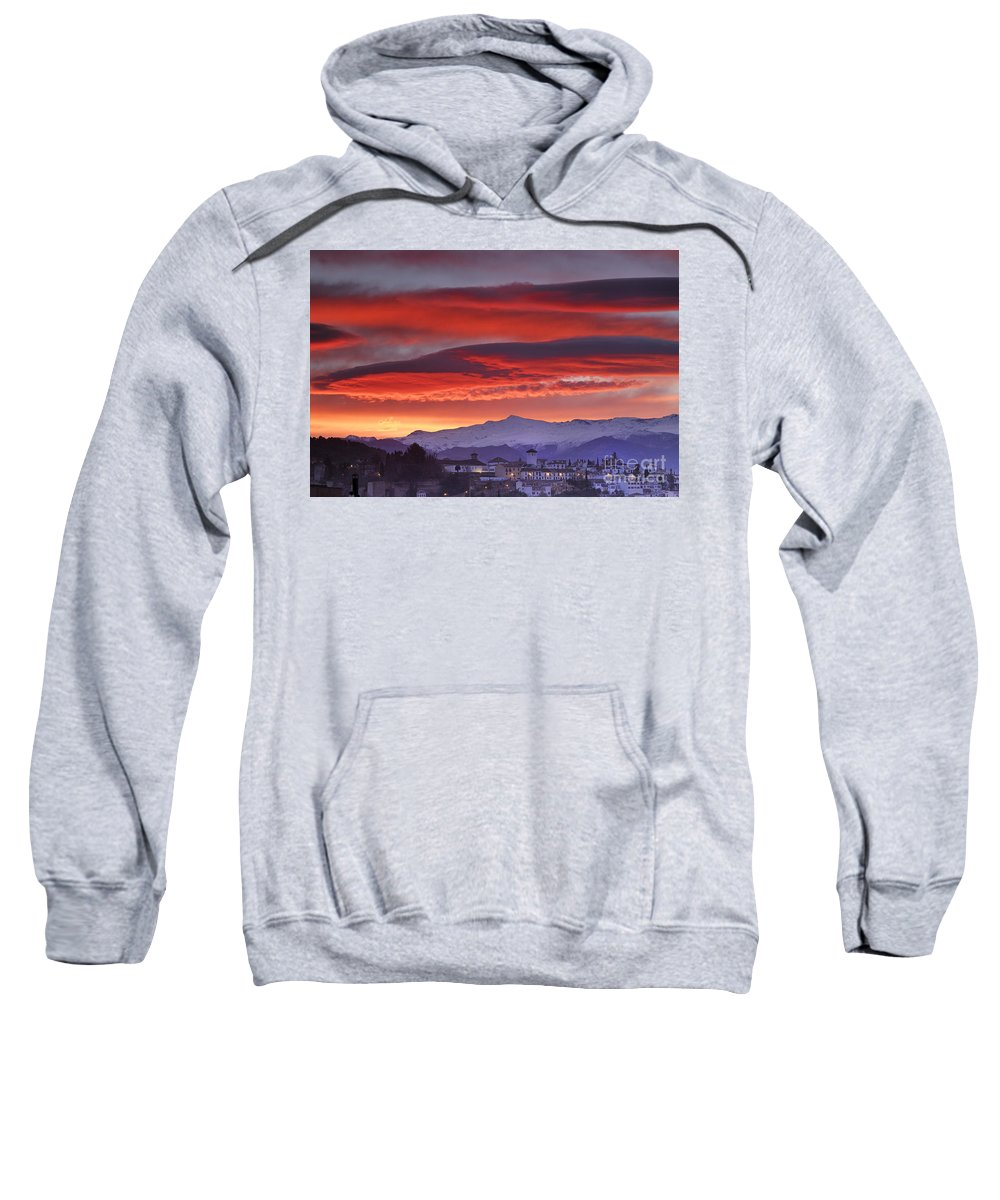 Sunset Sweatshirt featuring the photograph Sunrise Over Granada And The Alhambra Castle by Guido Montanes Castillo