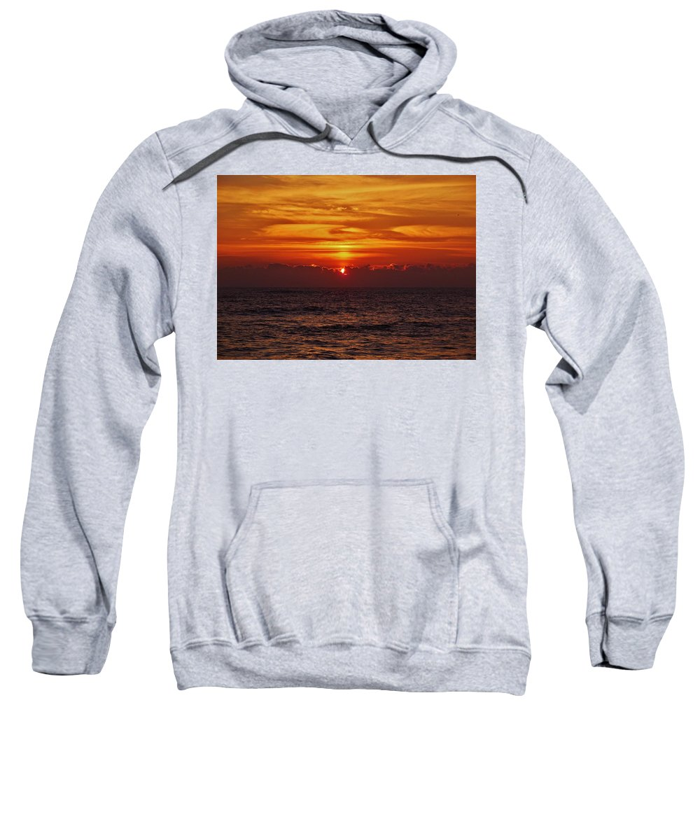 Mark Lemmon Cape Hatteras Nc The Outer Banks Photographer Subjects From Sunrise Sweatshirt featuring the photograph Sunrise Peek 2 12/3 by Mark Lemmon