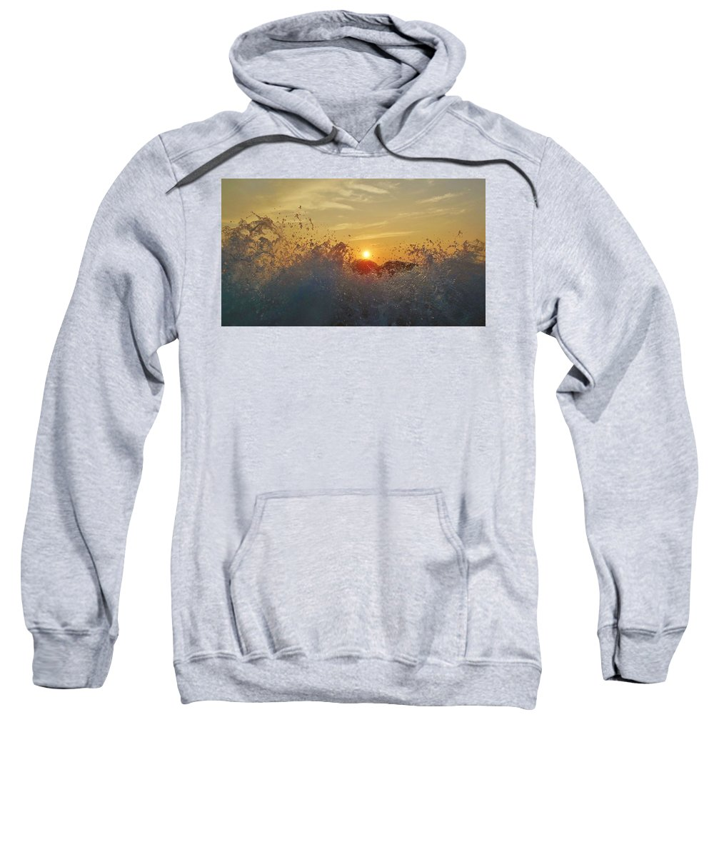 Mark Lemmon Cape Hatteras Nc The Outer Banks Photographer Subjects From Sunrise Sweatshirt featuring the photograph Sunrise Splash 1 9/05 by Mark Lemmon
