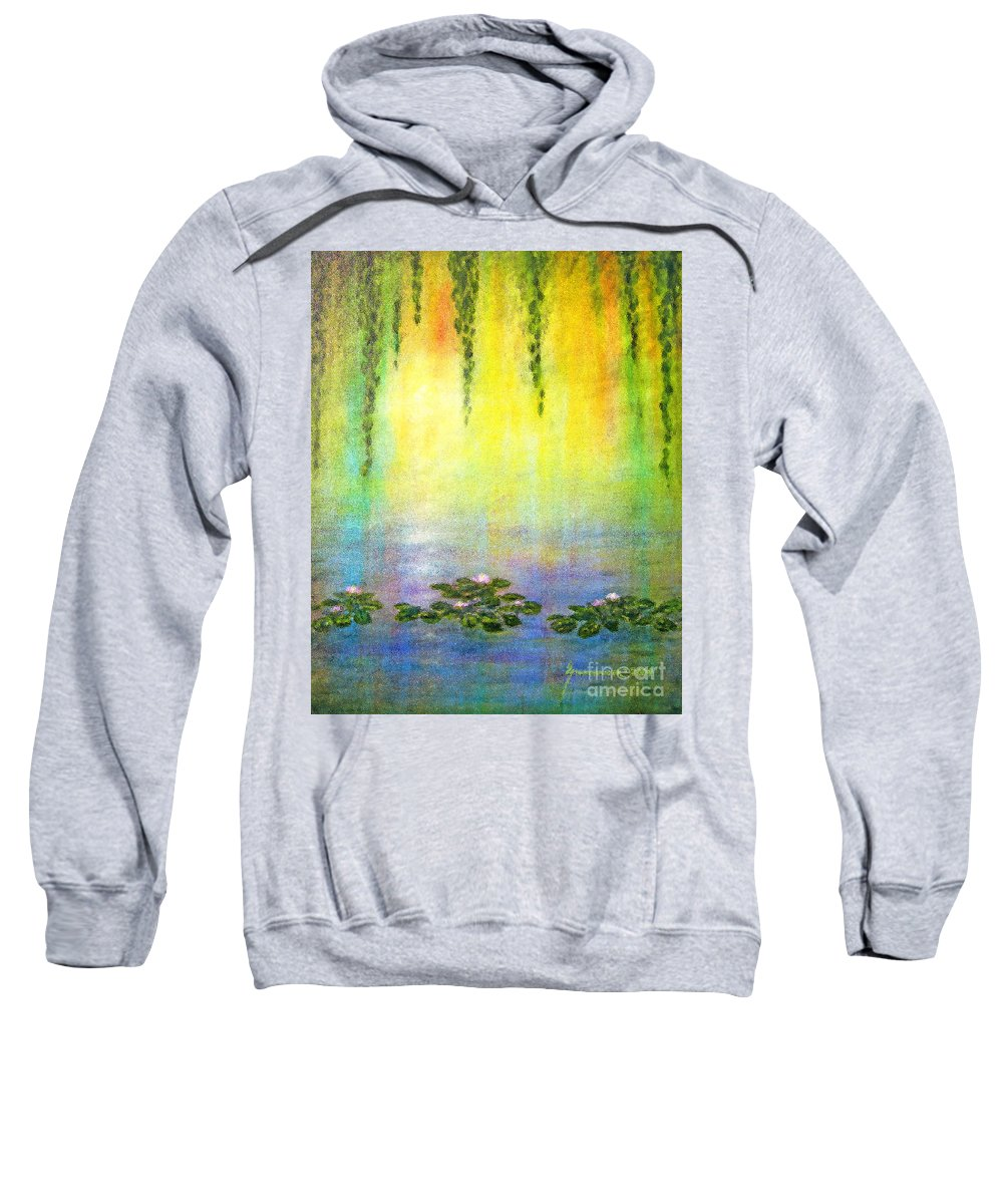 Sunrise Sweatshirt featuring the painting Sunrise With Water Lilies by Jerome Stumphauzer