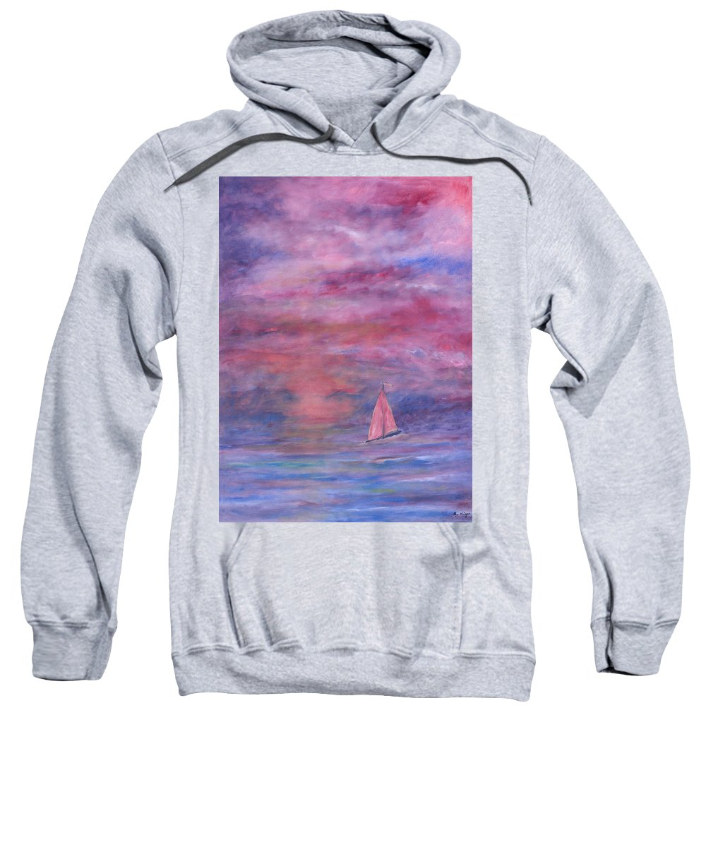 Saling Sweatshirt featuring the painting Sunset Adventure by Ben Kiger