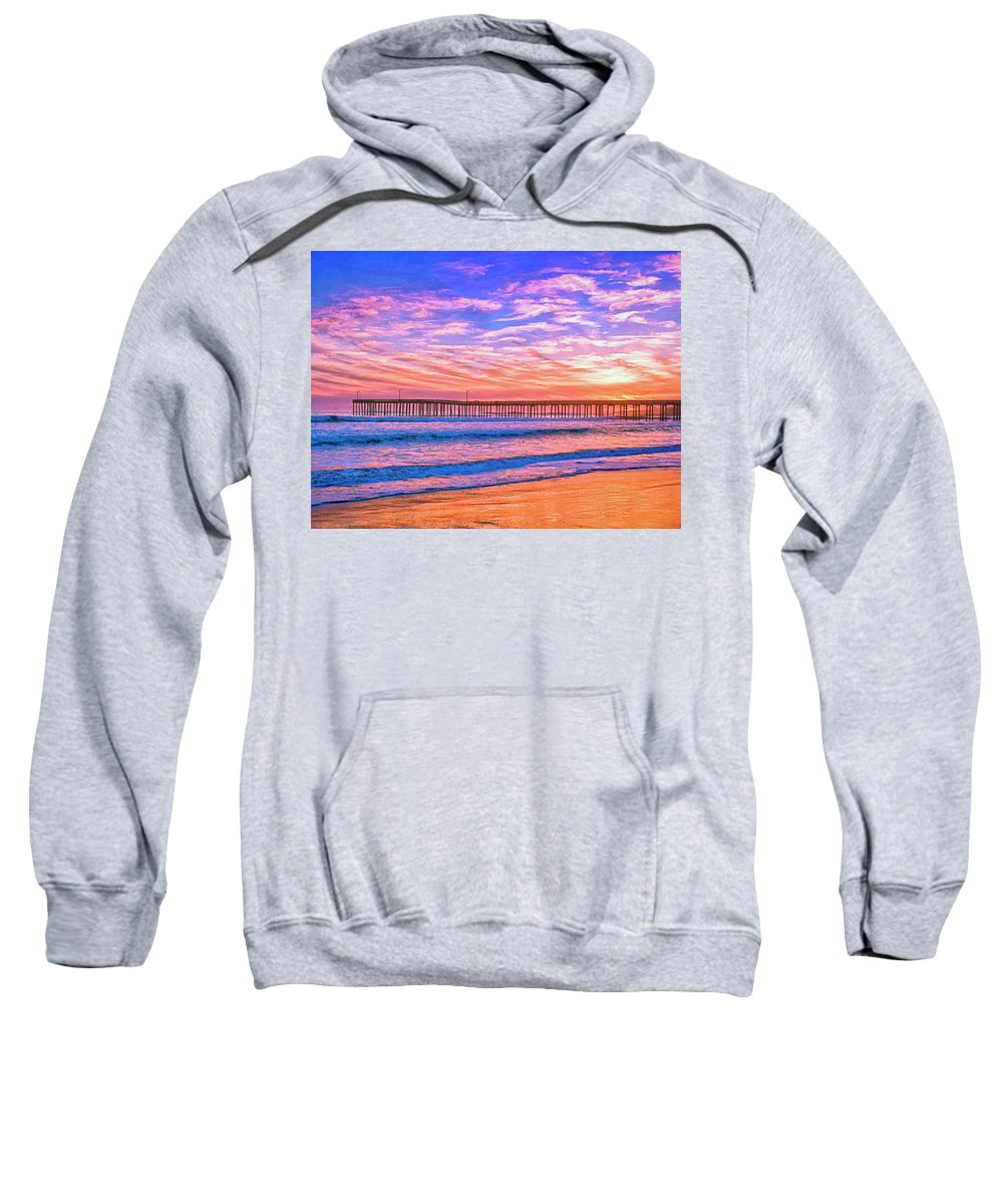 Sunset At Cayucos Pier Sweatshirt featuring the mixed media Sunset At Cayucos Pier by Dominic Piperata